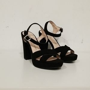 Suede chinese laundry platform sandal heels.